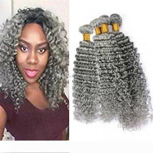 4шт Лот Virgin перуанского Deep Curly Серого человеческих волос Weave Связка 400г Silver Gray Deep Wave утками Наращивание волос Смешанная Длина