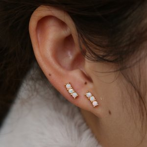 최소한의 바 스 터 드 귀걸이를 위한 소녀 925 순은 트리플 흰 불 opal geostone 최소한의 섬세한 소녀가 사랑스러운 보석