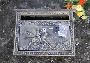 Buzón de la vendimia para el hogar Bronce Fundido De Aluminio Buzón Buzón Cartas de Pared Decorativas Al Aire Libre Post Box Metal Jardín Decoración Vintage Bloqueable