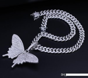 Pendente regalo Collana fuori ghiacciato animali grande farfalla blu argento placcato Mens Hip Hop Bling monili all'ingrosso M073F