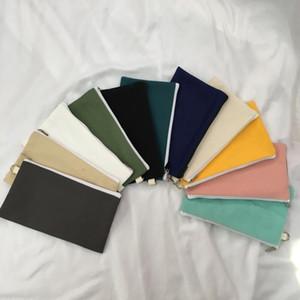 toile Coloful BLANK fermeture éclair Trousses stylo Pochettes coton sacs de maquillage cosmétiques Sacs sac d'embrayage téléphone portable organisateur LX7257