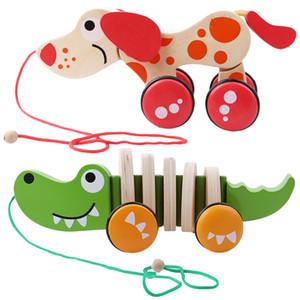 Bambini Twisting Giocattoli giocattolo educativo di legno Coccodrillo Cane trascinamento degli animali del fumetto dei bambini Twisting Puzzle Classic bambino Toy Car