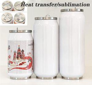 Bricolage transfert de chaleur en acier inoxydable 12 oz boîtes Cola Tasse canette de soda tasses de café Cola cannettes de boisson double isolation sous vide Coke Jar