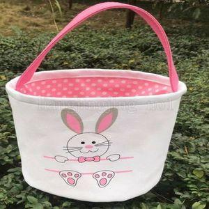 Оптовая Canvas Easter Basket Банни Easter Bucket Blank Банни Tote сумки Дети подарков Пасхой кролика украшения SSA224