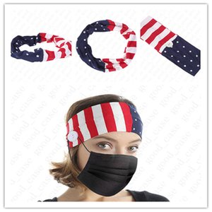 Unisex USA Flag Headbands with Button for Face Mask Cover Elastic Ear Protection Mask Holder Sports Gym Yoga Stretchy Headwrap Acc D52703