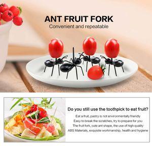 12 Adet / takım Mini Karınca Meyve Çatal Çatal Plastik Kek Tatlı Forks Gıda Seçim Sofra Partisi Dekorasyon Için