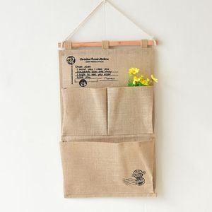 Francobollo tipo iuta tre tasche multistrato sundries parete custodia porta decorazione borsa appesa articoli vari Home Storage