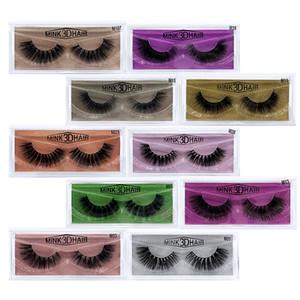 3D Vison Cils Maquillage Des Yeux Vison Faux cils doux naturel épais Cils Eye Lashes Extension Beauté Outils Avec Coloré carte GGA2028