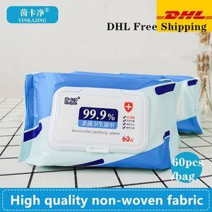 DHL 60pcs / box disinfettante Alchohol salviette antibatteriche Sterilizzazione Portable 75% tampone imbevuto di alcool la pulizia della pelle Cura della Wet Wipes