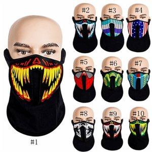 Halloween Masken LED-Masken Kleidung Big Terror Masken Cold Light Helmet Festival-Party-Glowing Tanz Stetig Voice Activated Musik-Maske EEA656