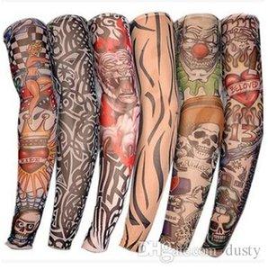 24 Pcs Tatuagem Mangas Homens e Mulheres Nylon Tatto Temporária Braço Meias Oversleeves Tatuagem Falsa Mangas