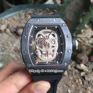 Nuevo estilo de 6 Mejor 43X50mm RM52-01 Negro de cerámica cráneo mecánico del reloj para hombre RM052 Diamond Dial Esqueleto de goma Strapt Caballeros Deportes Watche