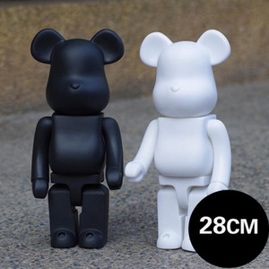 Popular 28CM 2pieces Lot Bearbrick Evade glue Black bear and white bear figures Toy For Collectors Be@rbrick Art Work model decorations