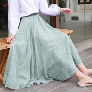 Japan and South Korea 2020 autumn cotton linen solid color high waist long women's large big long big skirt size large swing skirt