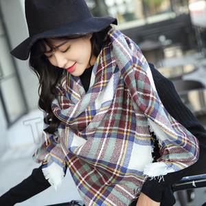 14 stil Kış yeni kadın Ekose Eşarplar kare eşarp üçgen Şal süper büyük atkısı T2C5162 kalınlaşmış Kontrol
