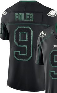 Maglia da uomo Philadelphia 9 11 Ricamata in jersey e 100% cucita 2019 Lights Out Maglia da football americano a colori nero Rush Limited 00
