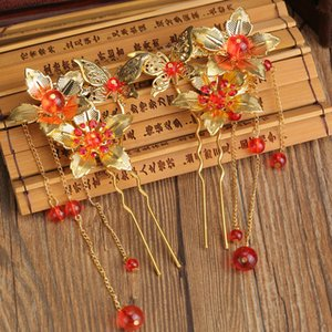 moda klasik saç tokaları toptan C19010501 püskül adım shake Bob klasik Çin gelinler saç aksesuarları kırmızı