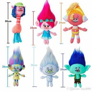 23 cm Trolls Peluche Toy Poppy Branch Dream Works Relleno Muñecas de dibujos animados La buena suerte Regalos de Navidad Mago mágico Hazaña del pelo