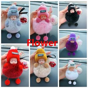 Gül Çiçek Ponpon Topu Anahtarlık kolye Çanta Sevgililer Günü Hediye HHA1167 Asma ile Baby Doll Anahtarlık Sleeping