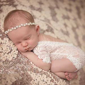 2020 New Soft Baby Newborn Photography Accessories Baby Romper Fashion Lace Romper Clothing Short Black and White