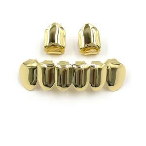 Hip Hop chapado en oro Boca Grillz Set 2pcs Single Los mejores 6 dientes de abajo fijada al por mayor Grill