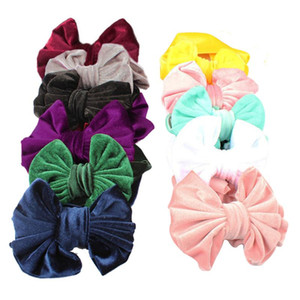 Baby Girls Velvet Bow headbands Kids Bowknot Wide Elastic Hair Band Children Boutique Princess Headwrap Hair Accessories