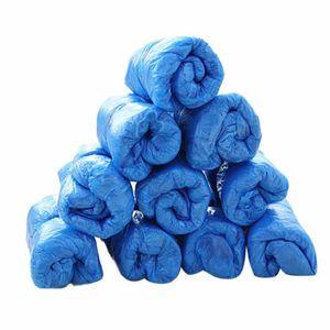 100Pcs Einweg-Schuhschuhe Abdeckungen Einweg-Kunststoff-Thick Außen Regentag Teppichreinigung Schuh blaue wasserdichte Überschuhe