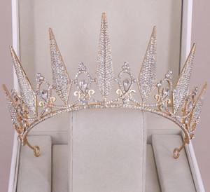 Magnifique princesse Big Couronnes de mariage de mariée Jewel diadèmes Tiares Femmes Argent Métal Cristal européenne Coiffes Accessoires de mariée