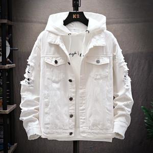 Jacket Mens Jackets Buraco mangas Tendência Mens Vestuário Outono e Inverno Moda Denim Retro clássico rasgado Tamanho Grande M-3XL