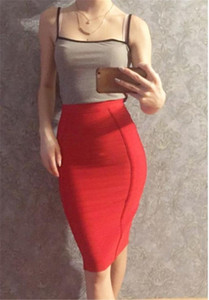 Zipper Fashion Solid Color Sexy Knee Length Skirts Summer Slim Fit Hip Clothing Womens Designer Empire Bodycon Skirts with