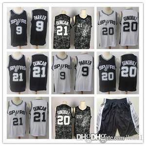 Hommes San AntonionbaSpurs ߤ David Robinson 50 Tim Duncan 21 Manu Ginobili 20 Tony Parker 9 Basketball Shorts Jersey Basketball