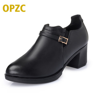 OPZC 2018 new woman shoes ,Fashion Spring Genuine leather women pumps, cowhide thick with large size 35#-43# of dress shoes