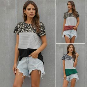 Womens Stripe Leopard curta T-shirt das meninas cor hit em torno do pescoço de manga curta Plus Size Tops mulheres marca Splice T-shirt 2020 NOVO