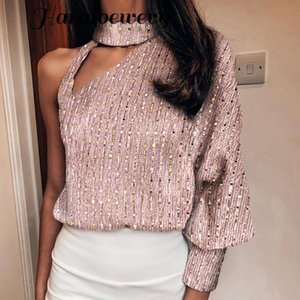 Sexy Off Shoulder Lantern Long Sleeve Sequin Tops Skew Collar Hollow Out Bright Shiny Party Shirt New Autumn Women Blouses