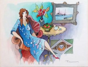 رسمت باليد ديكور المنزل mondern جدار الفن النفط اللوحة مجردة على قماش ل جدار امرأة صباح الشكل الفن جودة عالية لا مؤطرة