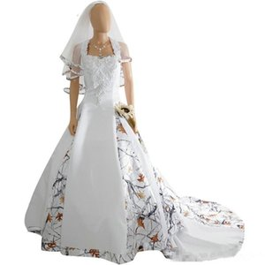 2019 New Fashion White Camo Satin Wedding Dress Custom Lace Appliques Bridal Gowns Lace Up Back With Veil Custom Long Camouflage New