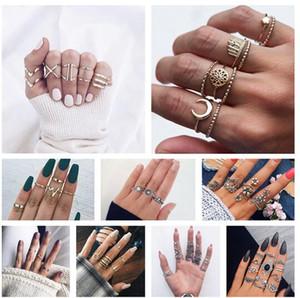 10 Arten Steampunk Boho Knuckles Frauen Ringe Gold Farbe Geometrische Welle Kreuz Metall Maxi Ring Set Weibliche Schmuck Vintage-Ring ALXY02