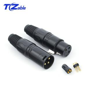 10 Par Conector XLR Conector de audio de 3 pines Macho Hembra Adaptador XLR para micrófono Conectores de audio Enchufe de altavoz Cable de alta fidelidad XLR