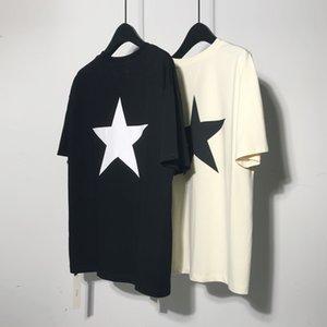 2019 Kanye T Camisa de vestir para hombre Pentagram sólido verano camiseta temporada MX200509 tamaño 5 Kanye West algodón gris camiseta Kanye gran tamaño