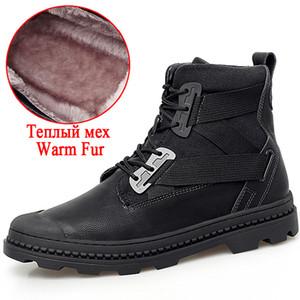 Hot Sale-Novo Homens Tornozelo botas grossas Plush Quente Homens neve Botas Qualidade tornozelo impermeável ao ar livre masculino trabalho básico Shoes