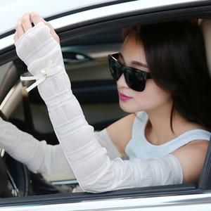 Été dentelle de femmes perles arc long bras de refroidissement manches Warmers causales Respirant Protection UV solaire Manchettes bras d'entraînement