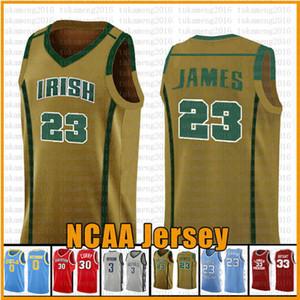 WHITE (23) 르브론 NCAA 농구 저지 애리조나 대학 주 베델 아일랜드어 고등학교 유니폼 제임스 2 레너드 3 웨이드 (11) 어빙 (30) 카레
