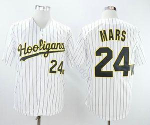 Vente en gros Bruno Mars 24K Hooligans Blanc Pinstriped Maillots Baseball Cousu Film Bruno Mars 24K Hooligans Baseball Jersey shirt