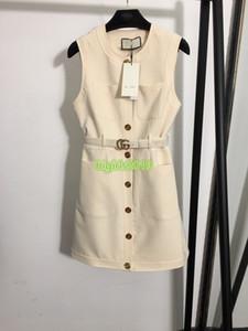 высокая конечных женщины девушка Кэди жилет двойной буква пояс рубашка платье пэчворк однобортных рукава в линии юбки моды в Милане дизайн платья