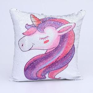 Lantejoulas reversível mudança da cor 3D Impresso Unicorn fronha fronha Super Brilhante Mágico dos desenhos animados da sereia Capa de Almofada DH0421
