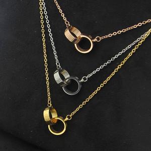 Collar 316L de titanio viento pequeño tornillo de doble anillo para la joyería Collar del amor de las mujeres