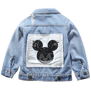 어린이 미키 데님 재킷 코트 2019 봄 가을 키즈 패션 겉옷 소년 소녀 구멍 만화 청바지 코트 2-7 세의 Y191026의 경우