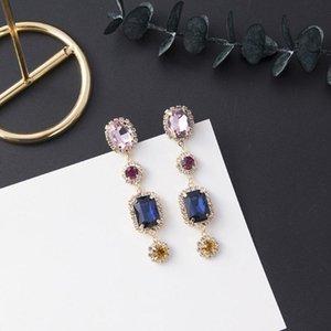 Fashion Women Earrings Trendy Geometry Multicolor Crystal Long Joker Contracted Drop Earrings Jewelry Ladies Temperament Jewelry