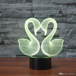 Doppel Schwan 3D-Illusion Nachtlicht-Touch 7 Farbwechsel Home Decor Baby-Jungen-LED-Lampe-Kind-Geschenk Weihnachtsweihnachtsgeschenke