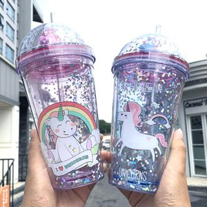 Unicorn Water bottles Smooth Milk Shake Smoothie Drink Water Bottle Fashion Portable Plastic Summer Iced Coffee Juice Bottles Cup With Straw